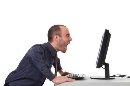 man yelling: yelling business man at the office on white