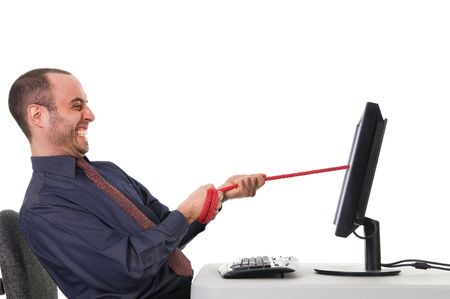 tug of war at the office on white Stock Photo - 3017554