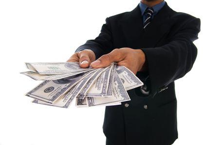 show bill: hombre de negocios con algunas buenas dinero en efectivo para dar  Foto de archivo