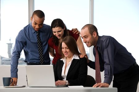 business people at the office as a team photo