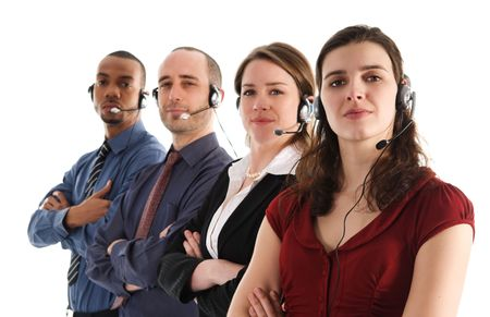 customer service representatives on a white background photo
