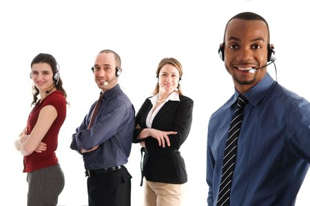customer service representatives on a white background photo