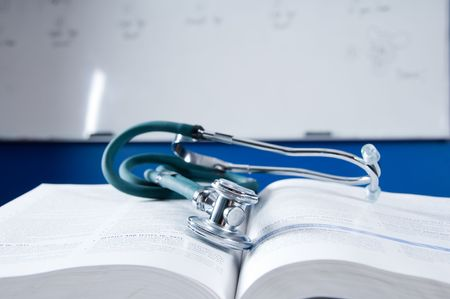 medical school: health care concept with a medical book