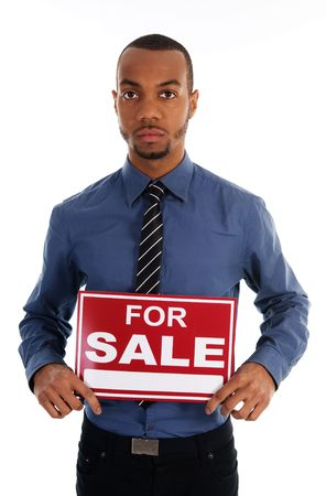 business man holding a red sign on white Stock Photo - 3071694