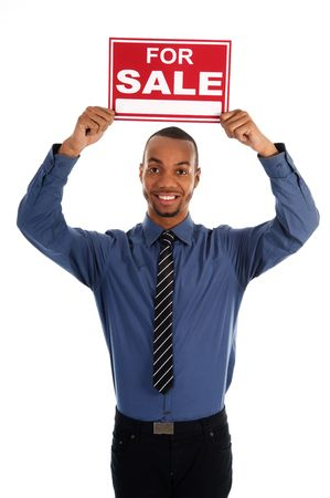 business man holding a red sign on white Stock Photo - 3071686