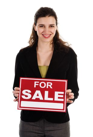 Business woman holding a red sign on white Stock Photo - 3071696