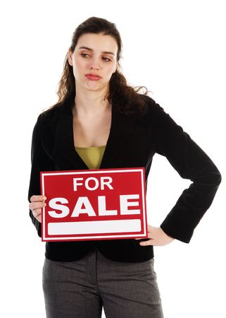 Business woman holding a red sign on white photo