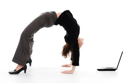 business woman arching her back on white photo