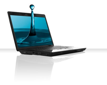 a black laptop computer with a drop pf water photo
