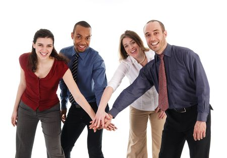 team victory: business people holding hands on a white background