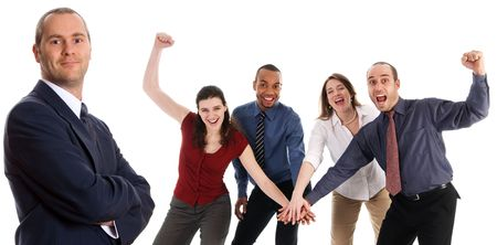 business people holding hands on a white background Stock Photo - 3086785