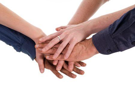 manos unidas: la gente de negocios la mano sobre un fondo blanco