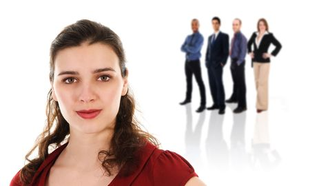 Cute Businesswoman and her business Team on white Stock Photo - 3183516