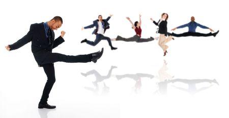dancing happy winner business man on white Stock Photo - 3183476