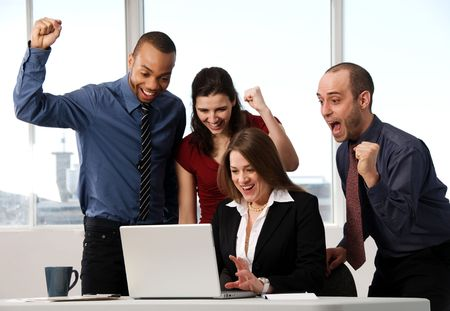 group of business people at an office desk