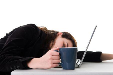"""Business woman Schlafen on the job """"bei der Arbeit  Standard-Bild - 3503806"""