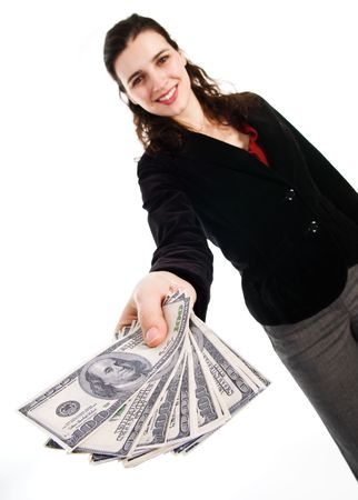 business woman with some money cash in her hand Stock Photo - 3571686