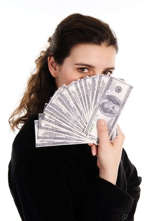 business woman with some money cash in her hand Stock Photo - 3571726