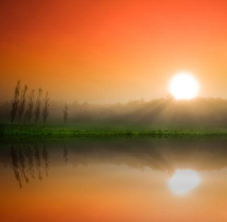 prachtige zonsopgang boven een gebied op het platteland