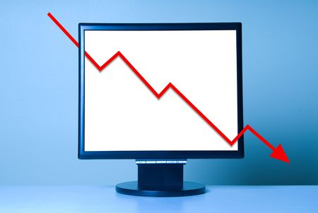 Economic Crisis shown with a red arrow graph on monitor photo