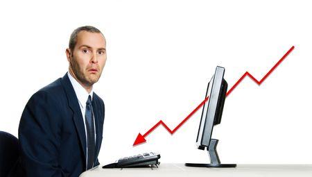 Unglücklich Mann in blauer Farbe auf Büro-Rechner Finanzkrise Standard-Bild - 3671575