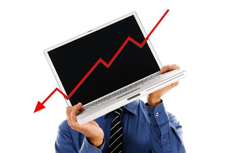 business person holding a laptop financial crisis photo