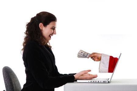 seller: woman receiving a christmas gift by internet via santa Stock Photo