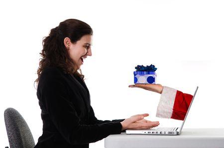 Business woman bekommen ein Weihnachtsgeschenk über das Internet Standard-Bild - 3701761