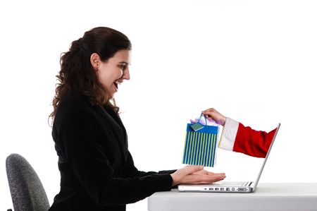 purchase: business woman getting a christmas gift via the Internet
