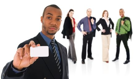 business man giving a blank card on white with team