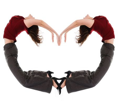 arching: business woman arching with a heart shape Stock Photo