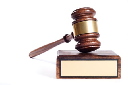 Wooden justice gavel and block with brass Stock Photo - 3802641