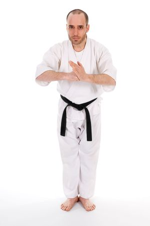 karateka: White man doing martial arts on isolated background Stock Photo
