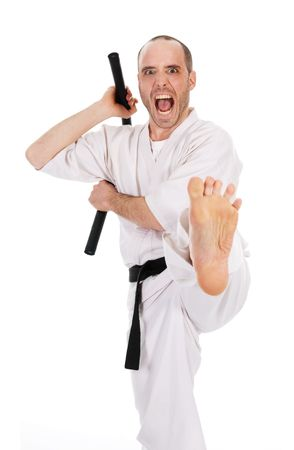 White man doing martial arts on isolated background Stock Photo