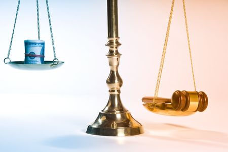 tribunal: Wooden justice gavel and block with brass