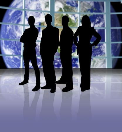 office space: Business team on a space ship looking at planet earth