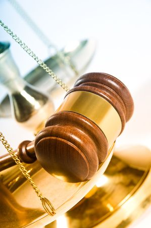 Wooden justice gavel and block with brass Stock Photo - 3881359