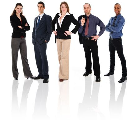 Happy business team auf einem isolierten weißem Hintergrund Standard-Bild - 3897536