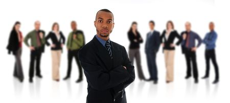 African Business man on a white background with his team photo