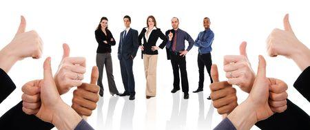 Geschäftsleute mit ihren Daumen bis zur Unterstützung Standard-Bild - 3897508