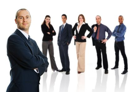 business team in business suit on isolated background photo
