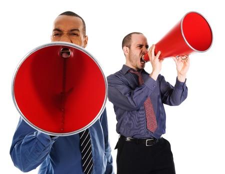 African-American Business Mann schreiend in ein rotes Megaphon Standard-Bild - 3990637