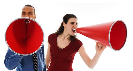 business team yelling in a red megaphone photo