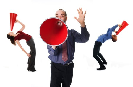 business team holding a red megaphone  photo