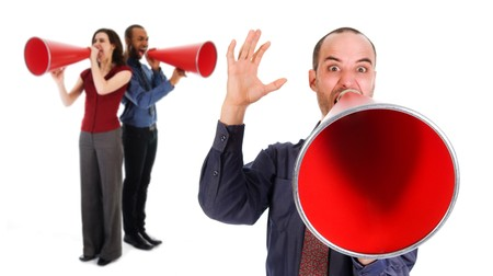 business team holding a red megaphone on emotions photo