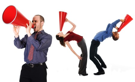 business team holding a red megaphone on emotions