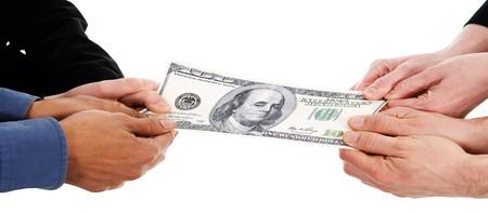 Geschäftsleute, die im Streit um Geld Rezession Standard-Bild - 4008459
