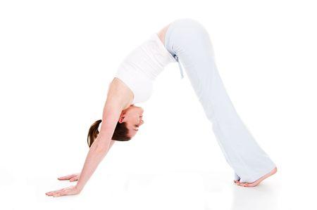 Beautiful woman doing yoga on isolated white background Stock Photo - 4034434