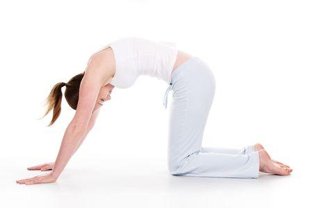 Schöne Frau macht Yoga isolierte weißem Hintergrund Standard-Bild - 4034437