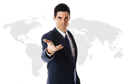 businessman in blue suit with world map Stock Photo